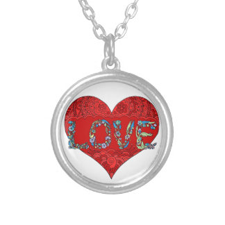 Boho Heart Pendent Silver Plated Necklace