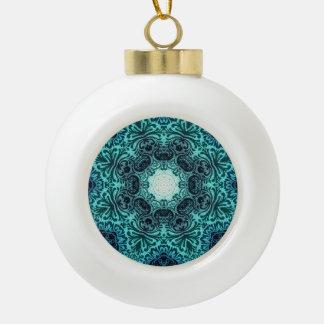 Boho henna floral paisley turquoise teal mandala ceramic ball christmas ornament