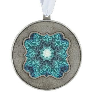 Boho henna floral paisley turquoise teal mandala ornament