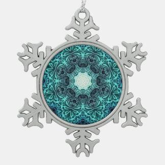 Boho henna floral paisley turquoise teal mandala snowflake pewter christmas ornament