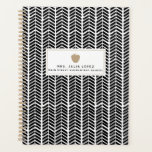 """Boho Herringbone Teacher Planner<br><div class=""""desc"""">A teacher planner featuring a boho inspired black and white herringbone design on front and back.  Front features custom text under illustration of a tan apple.</div>"""