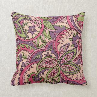 Boho Hippie Pink/Green/Purple Floral Paisley 16X16 Throw Pillow