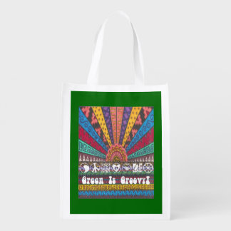 "Boho Hippie Psychedelic ""Green Is Groovy! 2-Sided Market Totes"