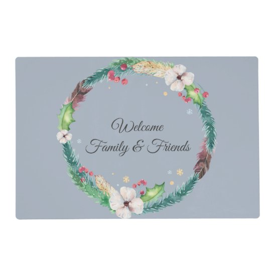 Boho Holiday Wreath Placemat
