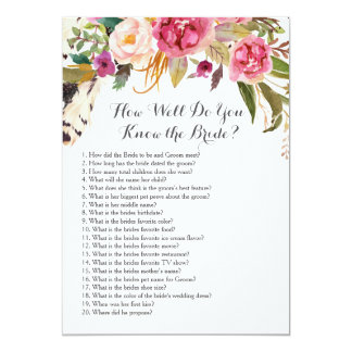 Boho How well do you know the bride? Card