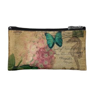 boho Hydrangea butterfly starfish French Botanical Makeup Bag