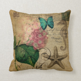 boho Hydrangea butterfly starfish French Botanical Throw Pillow