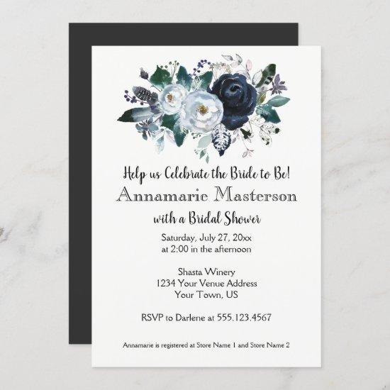 Boho Indigo Navy White Floral Bridal Shower Invitation