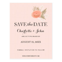 boho  ivory blush gold floral save the dates postcard