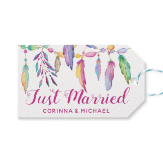 Boho Just Married Wedding Feathers Native American Gift Tags