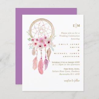 Boho Lavender Dream Catcher Pink Wedding