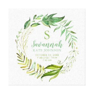 Art Themed Boho Leaves Personalized Baby Birth Stats Canvas Print