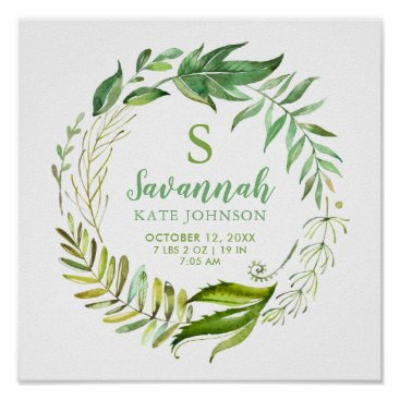 Art Themed Boho Leaves Personalized Baby Birth Stats Poster