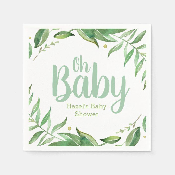Boho Leaves Personalized Baby Shower Paper Napkins Zazzle Com