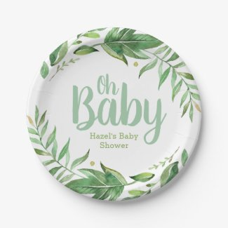 Boho Leaves Personalized Baby Shower Paper Plate