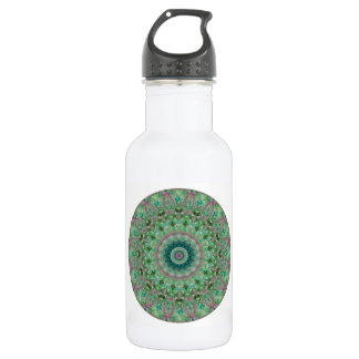Boho Light Green and Purple Floral Round Mandala Stainless Steel Water Bottle