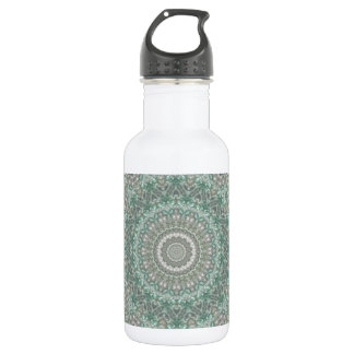 Boho Light Teal and Grey Mandala (rect.) Stainless Steel Water Bottle