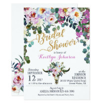 Boho Longhorn Cow Skull Floral Bridal Shower Card