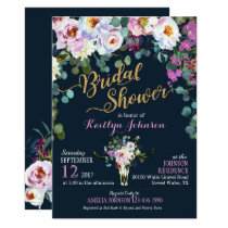 Boho Longhorn Cow Skull Floral Bridal Shower Invitation