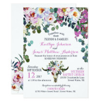Boho Longhorn Cow Skull Floral Wedding Invitation
