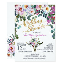Boho Longhorn Cow Skull Floral Wedding Shower Card