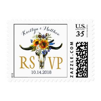 Boho Longhorn Skull Sunflower RSVP Wedding Postage