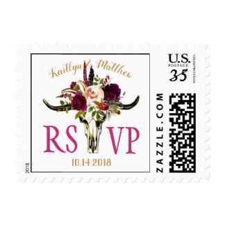 Boho Longhorn Skull Watercolor Floral Wedding Postage