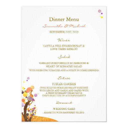 Boho Love Trees DIY Wedding Dinner Menus Card