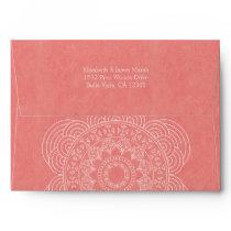 Boho Mandala Coral Elegant Wedding Envelope