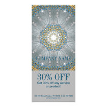 boho massage therapist Yoga silver blue mandala Rack Card