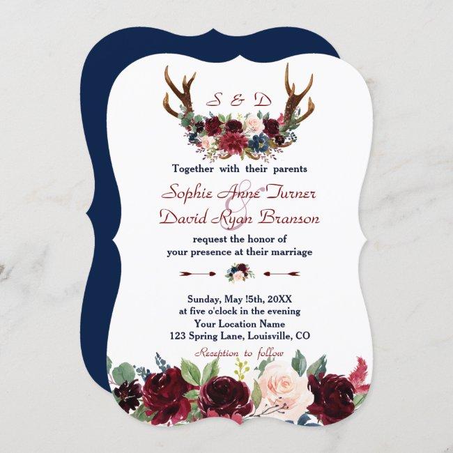 Boho Merlot Navy Blue Floral Antlers Wedding Invitation