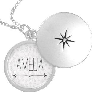 Boho minimalist monogram silver plated necklace