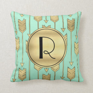 Boho Mint and Faux Gold Arrows Monogram Throw Pillow