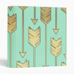 Boho Mint and Faux Gold Arrows Pattern Binder