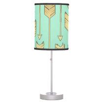 Boho Mint and Faux Gold Arrows Pattern Desk Lamp