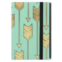 Boho Mint and Faux Gold Arrows Pattern iPad Mini Case