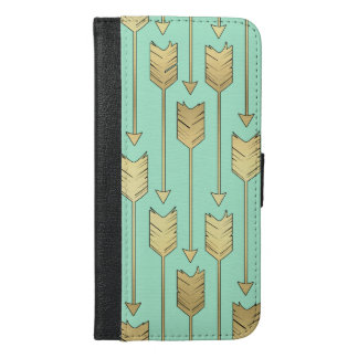 Boho Mint and Faux Gold Arrows Pattern iPhone 6/6s Plus Wallet Case