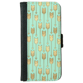 Boho Mint and Faux Gold Arrows Pattern iPhone 6/6s Wallet Case
