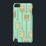 "Boho Mint and Faux Gold Arrows Pattern iPod Touch 5G Case<br><div class=""desc"">Boho Mint and Faux Gold Arrows Pattern</div>"