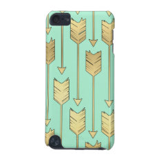 Boho Mint and Faux Gold Arrows Pattern iPod Touch 5G Case at Zazzle