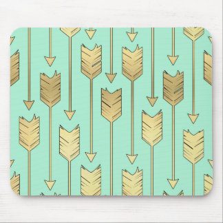 Boho Mint and Faux Gold Arrows Pattern Mouse Pad