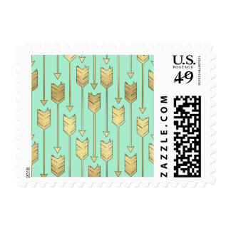 Boho Mint and Faux Gold Arrows Pattern Postage