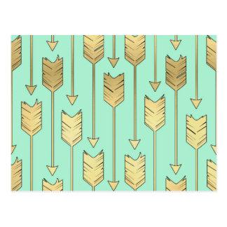 Boho Mint and Faux Gold Arrows Pattern Postcard