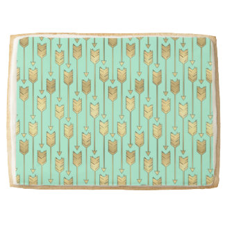 Boho Mint and Faux Gold Arrows Pattern Shortbread Cookie