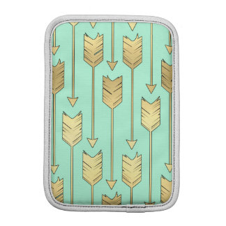 Boho Mint and Faux Gold Arrows Pattern Sleeve For iPad Mini