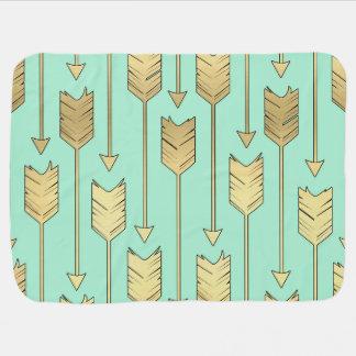 Boho Mint and Faux Gold Arrows Pattern Stroller Blanket
