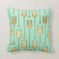 Boho Mint and Faux Gold Arrows Pattern Throw Pillow