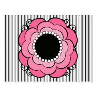Boho Mod Black Stripes and Pink Floral Postcard