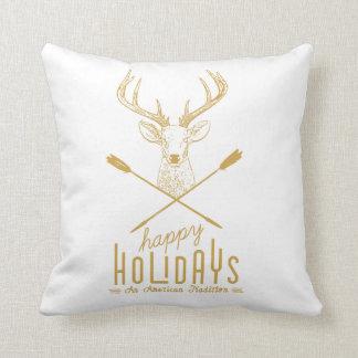 Boho Modern Happy Holidays Pillow  gold on white