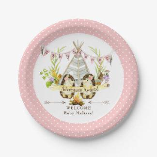 BOHO Modern Pink Girl Baby Shower Hedgehog Floral Paper Plate